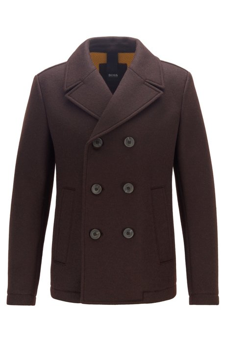 Double-breasted felt pea coat with mesh lining, Dark Brown