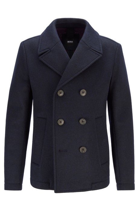 Double-breasted felt pea coat with mesh lining, Dark Blue