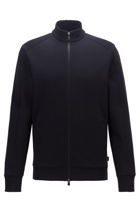 Sweat zippé en coton mélangé mouliné, Noir