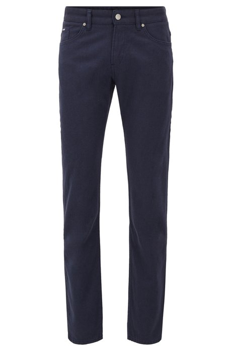 Slim-fit stretch-denim jeans with two-tone structure, Dark Blue