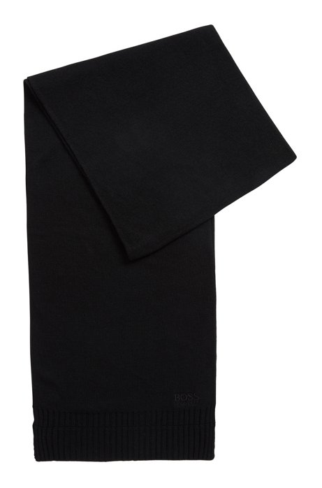 Tonal scarf with a touch of cashmere, Black
