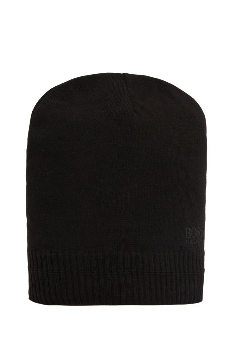 Beanie hat with tonal embroidered logo, Black