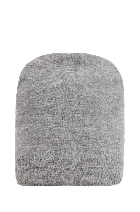 Beanie hat with tonal embroidered logo, Grey
