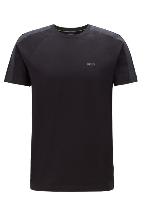 Regular-fit T-shirt with logo-tape sleeves, Black