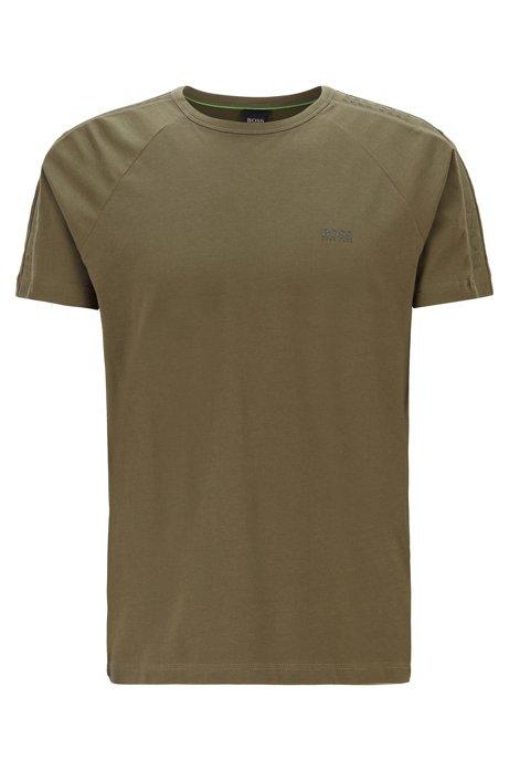 Regular-fit T-shirt with logo-tape sleeves, Dark Green