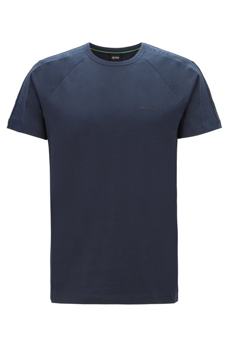 Regular-fit T-shirt with logo-tape sleeves, Dark Blue