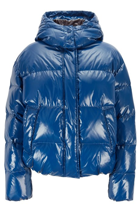 Regular-fit water-repellent down coat in glossy fabric, Blue