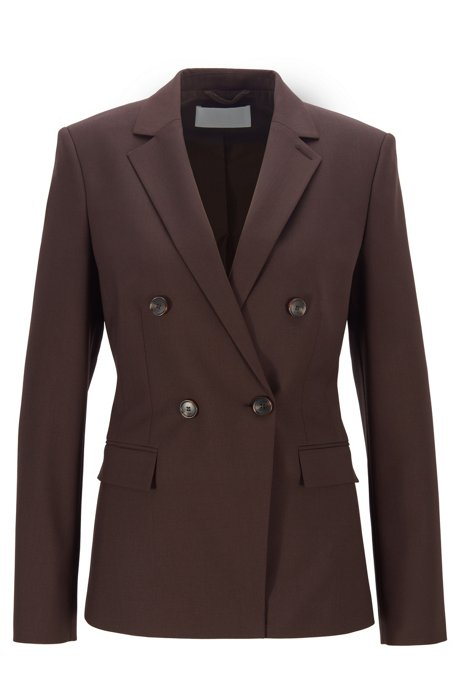 Double-breasted regular-fit jacket in traceable stretch wool, Dark Brown
