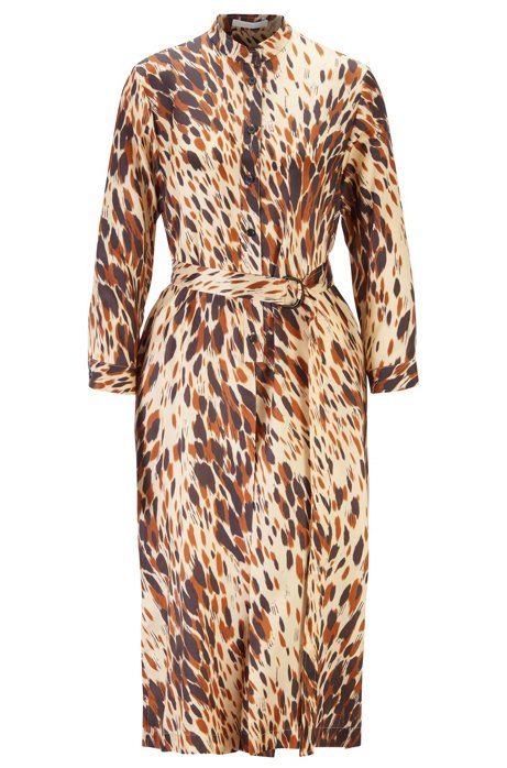 Animal-print shirt dress with D-ring belt, Patterned