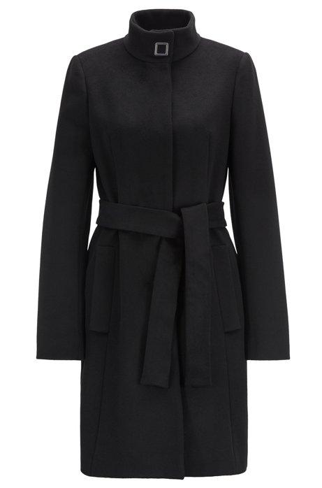 Cappotto con cintura in vita in lana vergine con cashmere prodotta in Italia, Nero