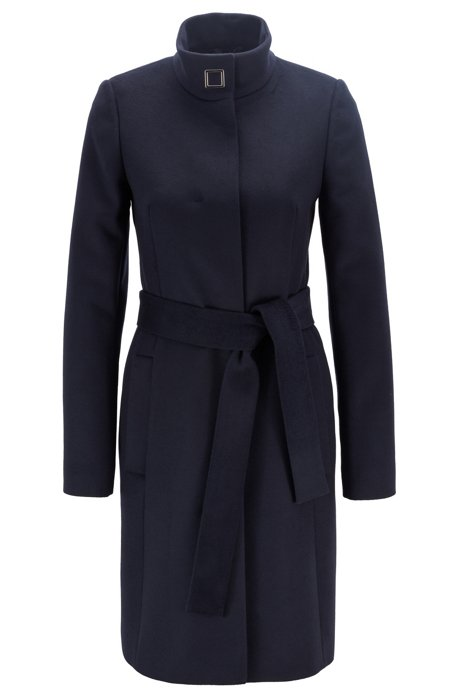 Tie-waist coat in Italian virgin wool with cashmere, Blue