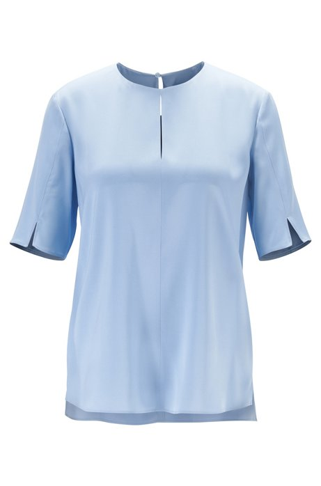 Keyhole-detail top in silk-based crepe de chine, Light Blue