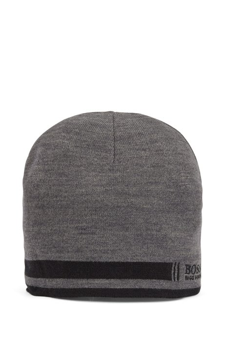 Super-soft beanie hat with embroidered logo, Grey
