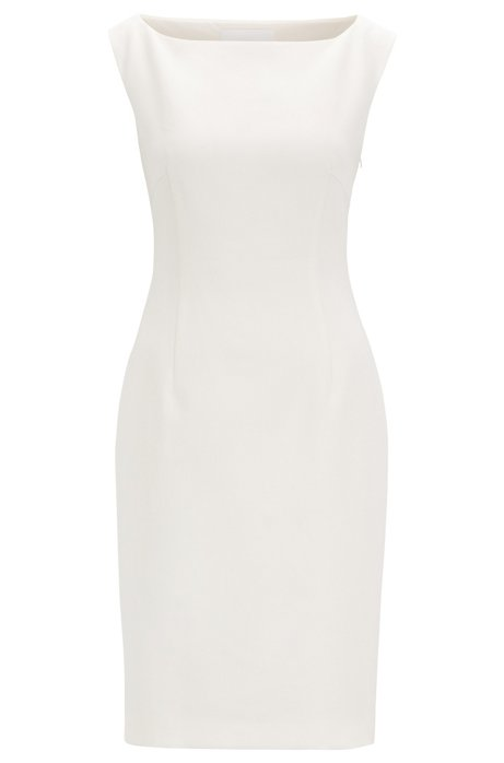 Slim-fit dress with rear cut-out detail, Natural