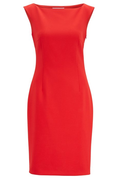 Slim-fit dress with rear cut-out detail, Red