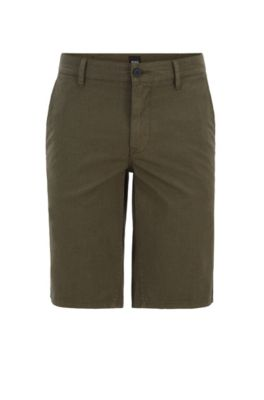 Short chino Slim Fit en coton stretch surteint, Vert sombre