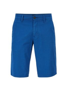 Short chino Slim Fit en coton stretch surteint, Bleu