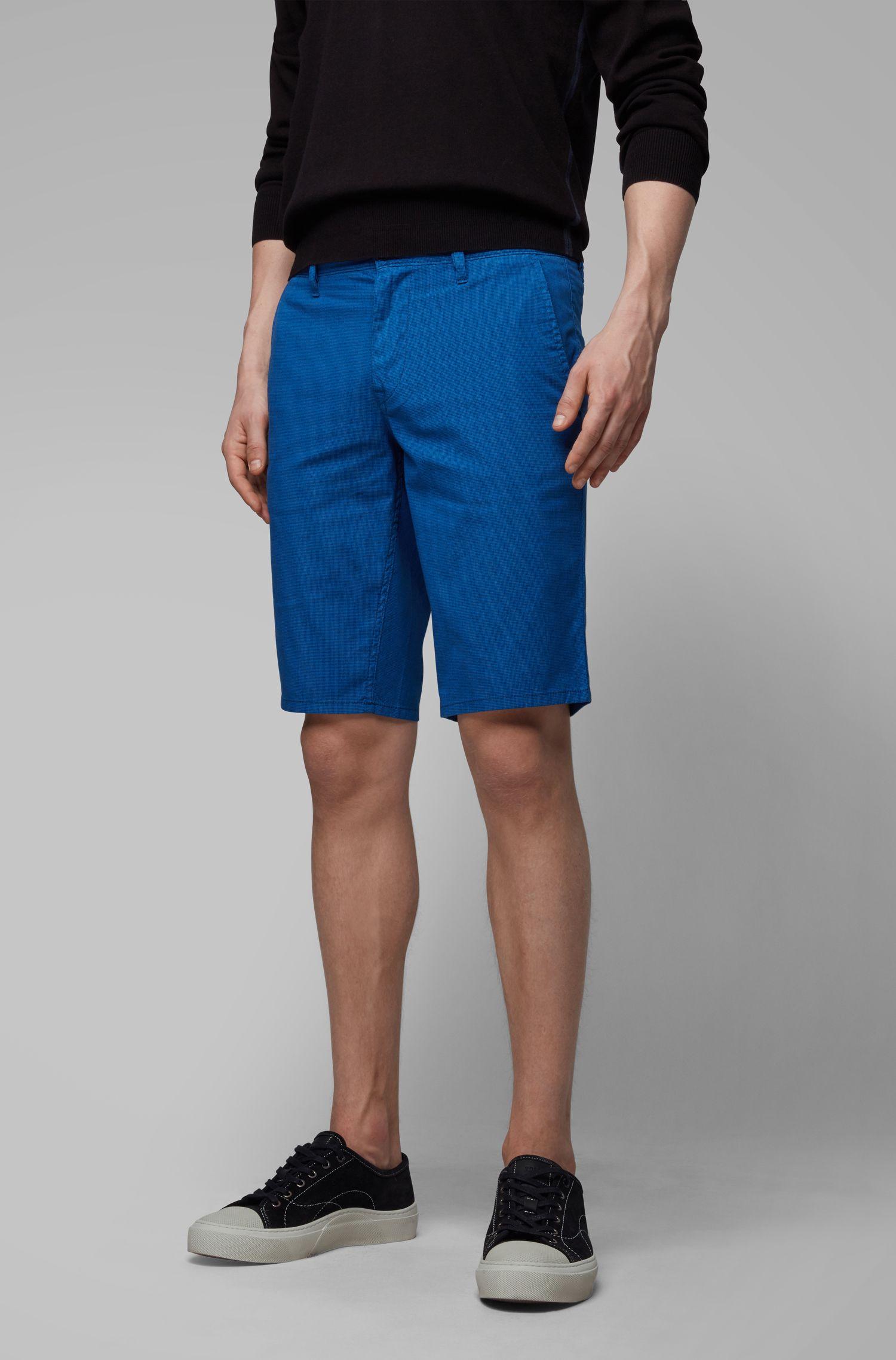 Short chino Slim Fit en coton stretch surteint, Bleu