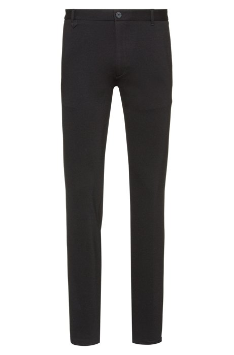 Extra-slim-fit trousers in melange jersey with stretch, Black