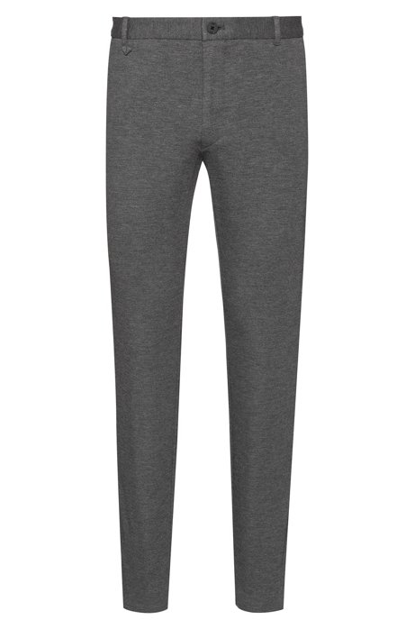 Extra-slim-fit trousers in melange jersey with stretch, Dark Grey