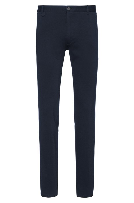 Extra-slim-fit trousers in melange jersey with stretch, Dark Blue