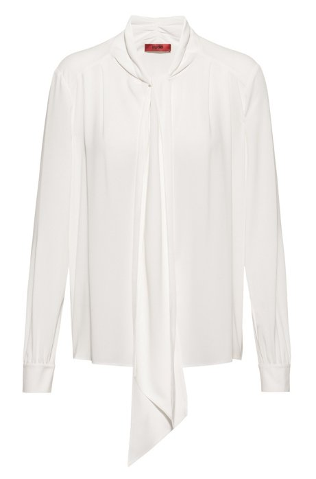 Bow-neck top in stretch crinkle crepe, White