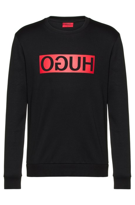 Regular-fit sweatshirt with reverse-logo print, Black