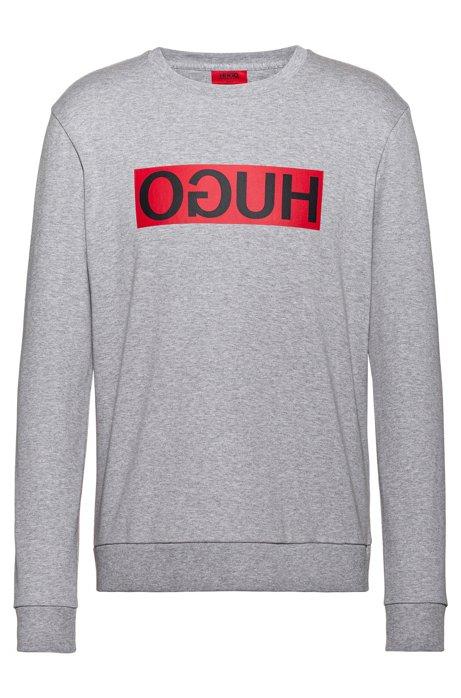 Sweatshirt aus Baumwolle mit Reversed-Logo, Hellgrau