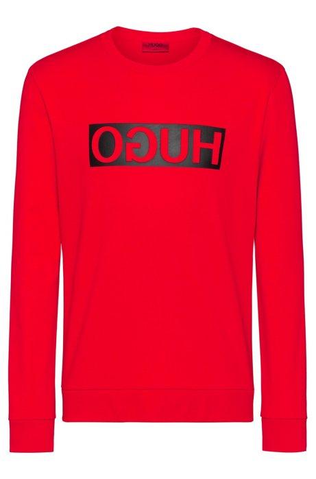 Regular-fit sweatshirt with reverse-logo print, Red