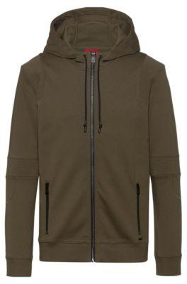 Regular-fit sweater met capuchon van interlocked katoen, Donkergroen
