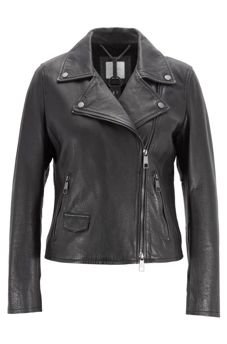 Asymmetric biker jacket in nappa leather with teddy lining, Black