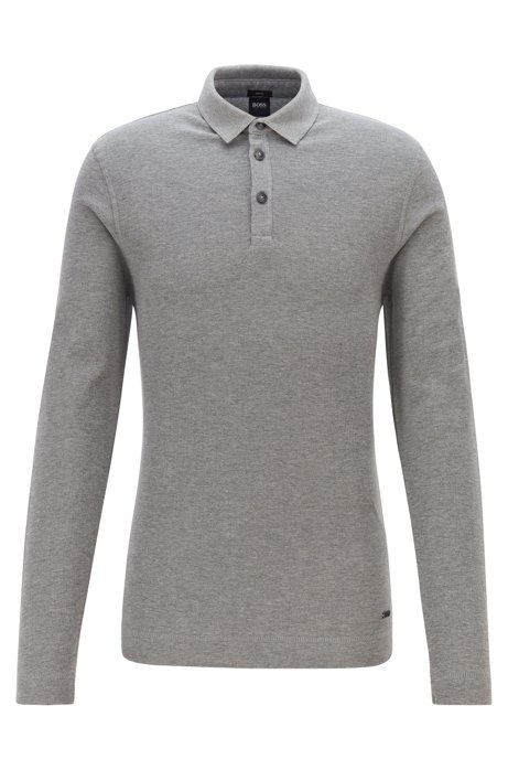 Slim-fit polo shirt in heathered waffle cotton, Light Grey