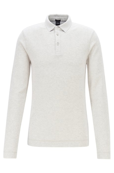 Slim-fit polo shirt in heathered waffle cotton, White