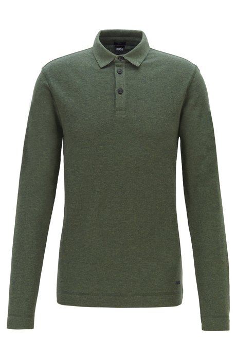 Slim-fit polo shirt in heathered waffle cotton, Open Green