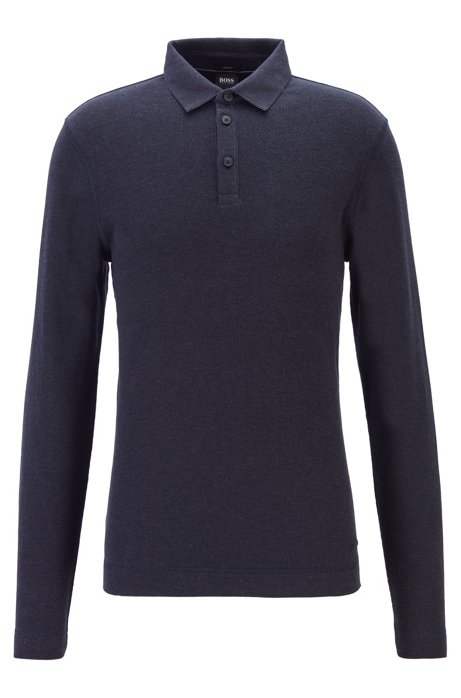 Slim-fit polo shirt in heathered waffle cotton, Dark Blue