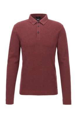 Slim-fit polo shirt in heathered waffle cotton, Dark Red