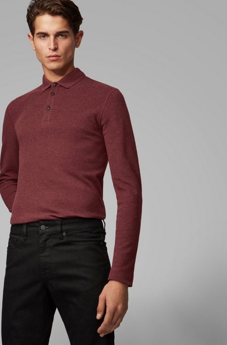 Polo Slim Fit en coton gaufré chiné, Rouge sombre