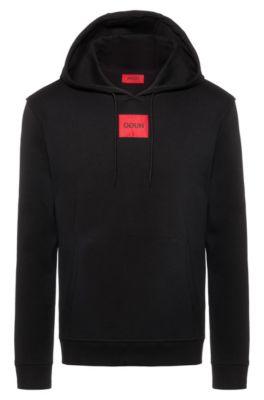 Kapuzen-Sweatshirt aus Interlock-Baumwolle, Schwarz
