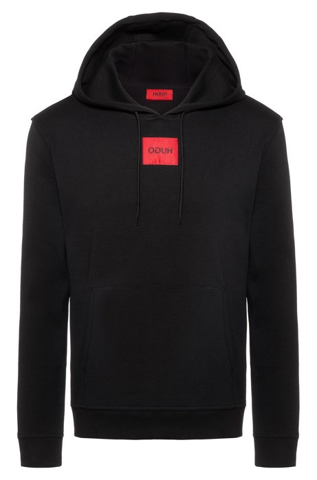 Regular-fit hooded sweater in interlock cotton, Black