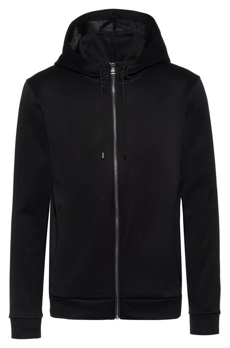 Zip-through hooded sweatshirt with faux-leather piping, Black