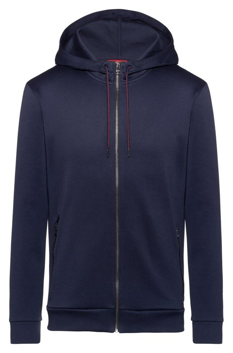 Zip-through hooded sweatshirt with faux-leather piping, Dark Blue