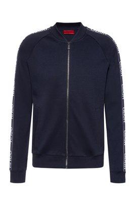 Regular-fit bomber jacket with logo tape, Dark Blue