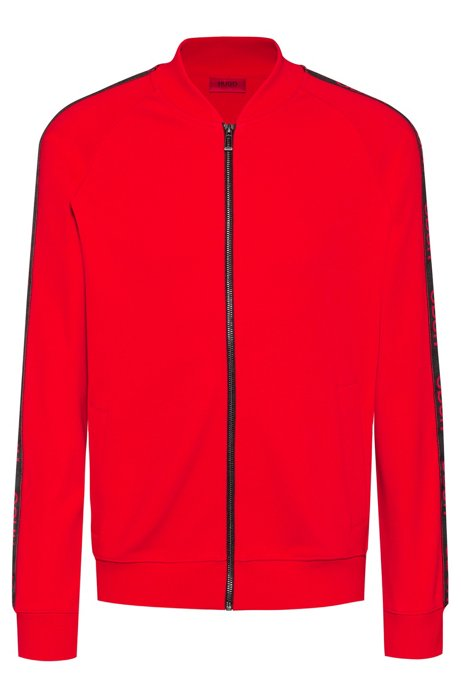 Regular-fit bomber jacket with logo tape, Red