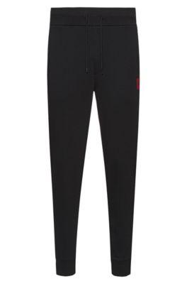 Regular-fit joggingbroek van zuivere katoen, Zwart