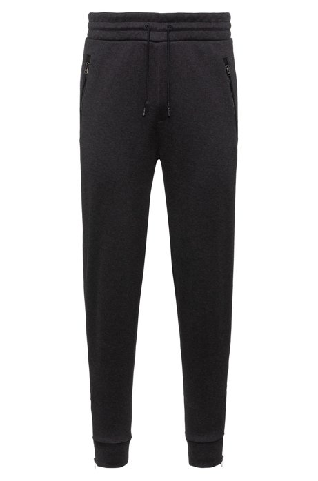 Regular-fit jogging trousers in cotton with zipped hems, Grey