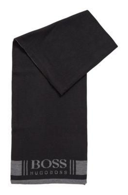 Superzachte sjaal met jacquardlogo, Zwart