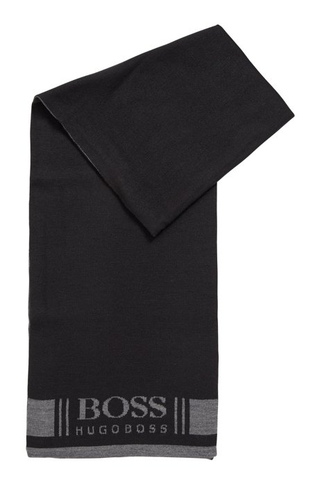 Super-soft scarf with jacquard logo, Black