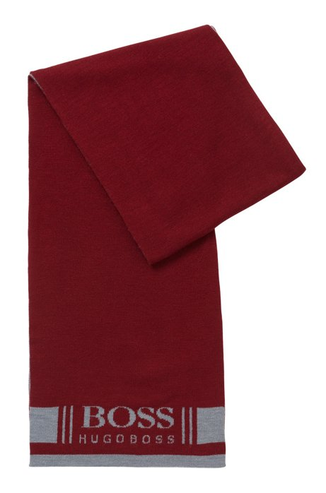 Super-soft scarf with jacquard logo, Dark pink