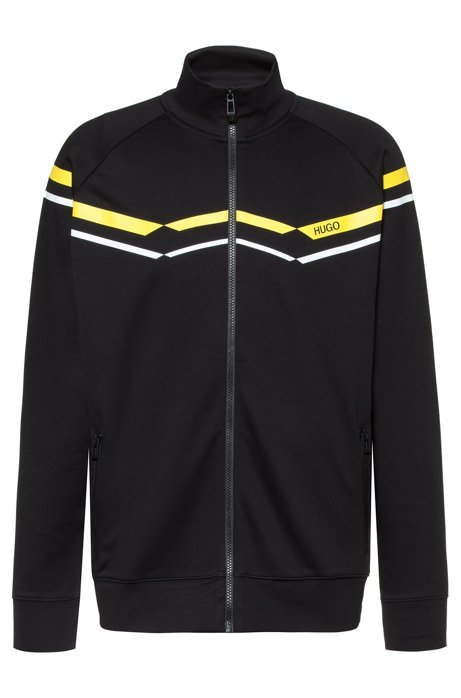 Oversize-fit sweatshirt with retro zigzags in cotton blend, Black