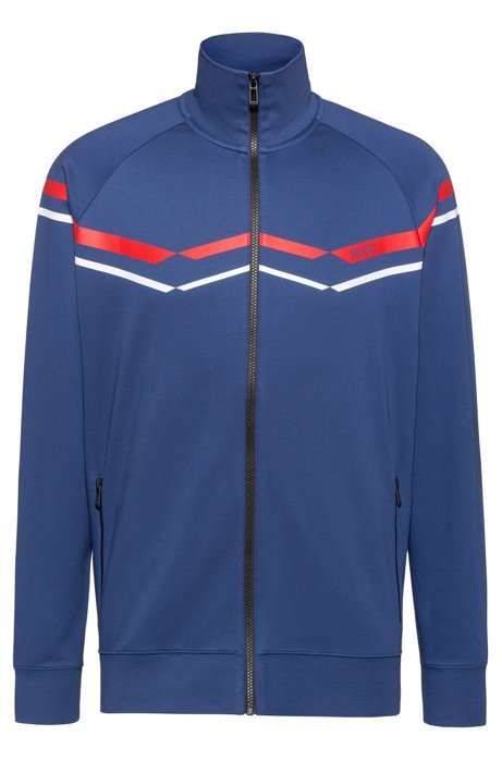 c9a1feae HUGO - Oversize-fit sweatshirt with retro zigzags in cotton blend